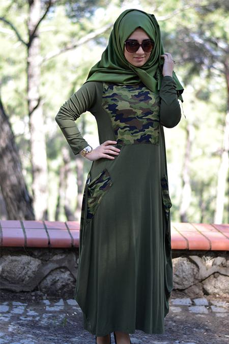 Henna Elisa Haki Yeşil Kamuflaj Elbise
