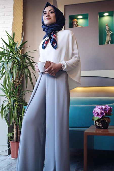Kadriye Basturk Jes Yüksek Bel Ön Pileli Pantolon Tunik Takım