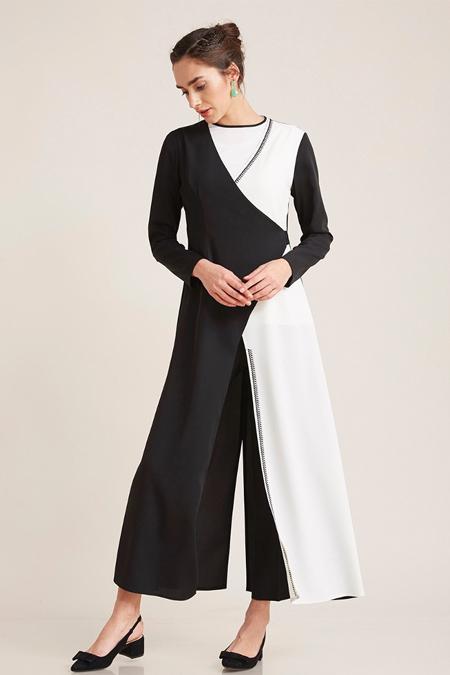 Kayra Siyah İki Renk Tunikli Takım