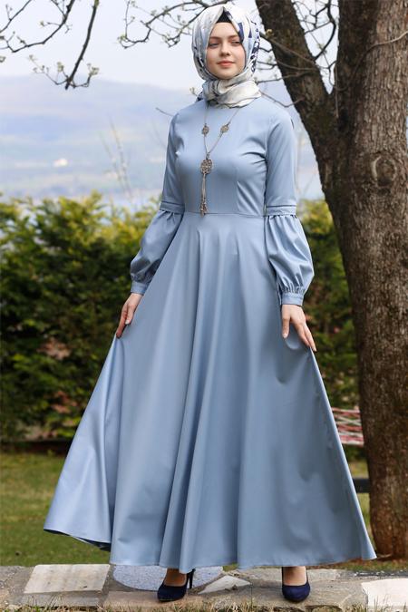 Kübra Biriktir Mavi Nil Kloş Elbise