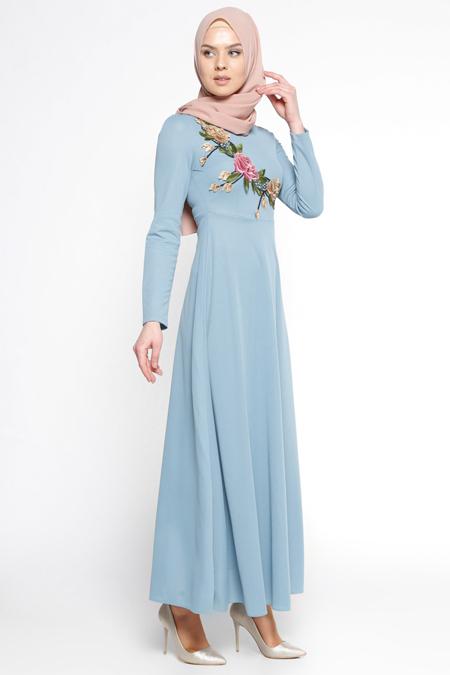LOREEN Bebe Mavisi Güpür Detaylı Elbise