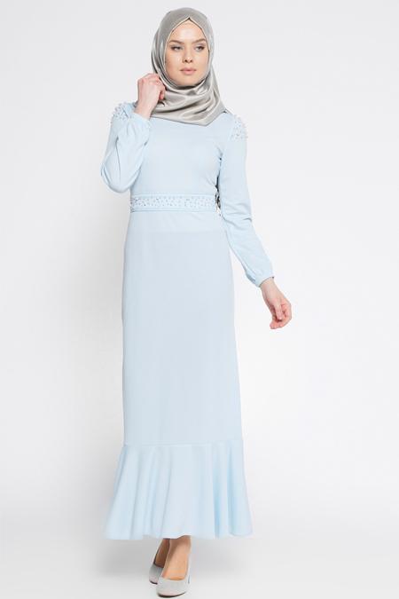 LOREEN Bebe Mavisi İncili Elbise