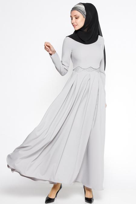 LOREEN Gri Dantel Detaylı Elbise