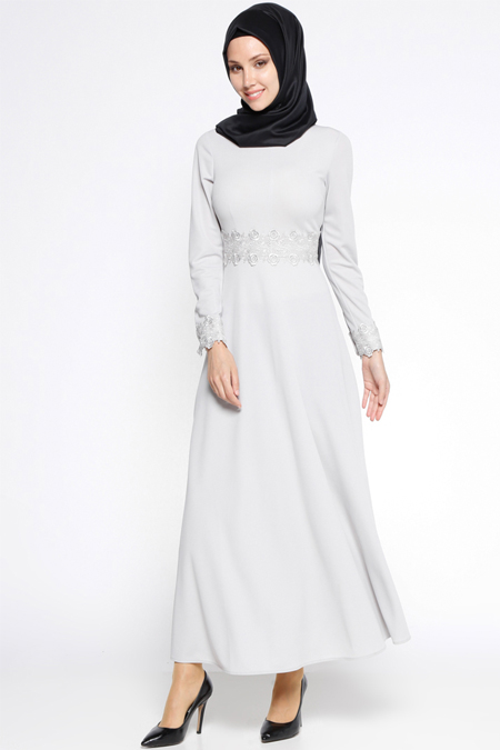 LOREEN Gri Güpür Detaylı Elbise