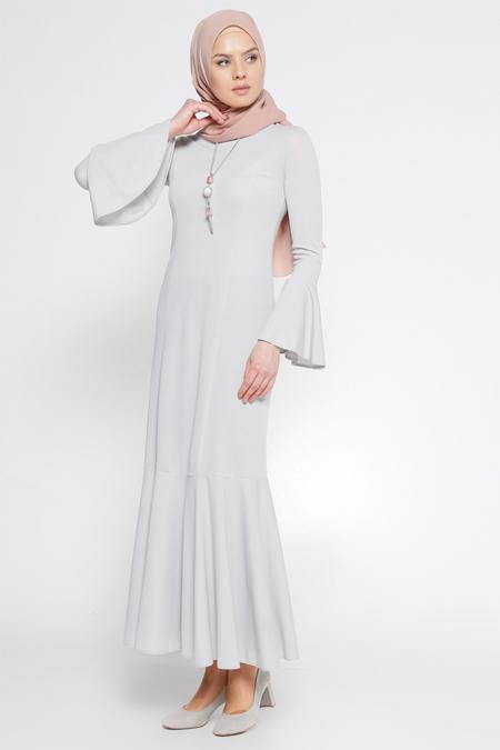 LOREEN Gri Volan Detaylı Elbise