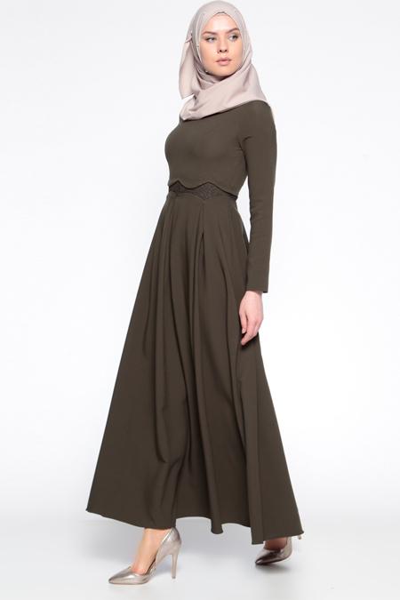 LOREEN Haki Dantel Detaylı Elbise
