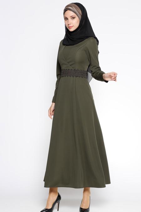 LOREEN Haki Güpür Kemerli Elbise