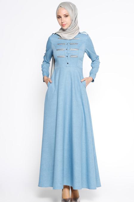 LOREEN İndigo Nakış Detaylı Elbise