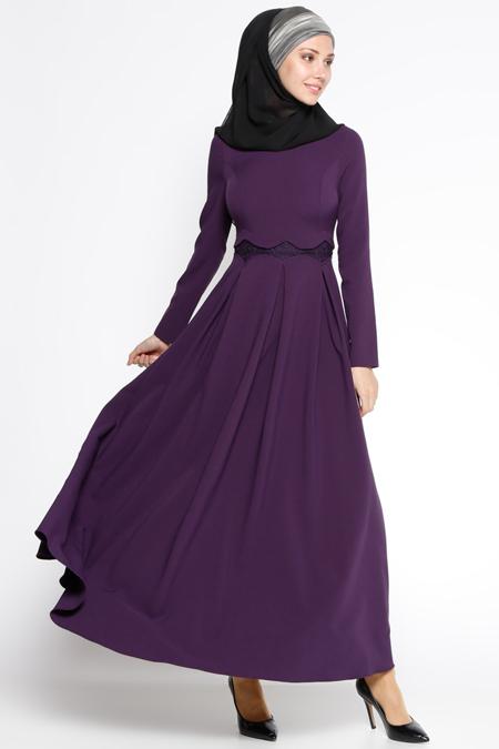 LOREEN Mor Dantel Detaylı Elbise