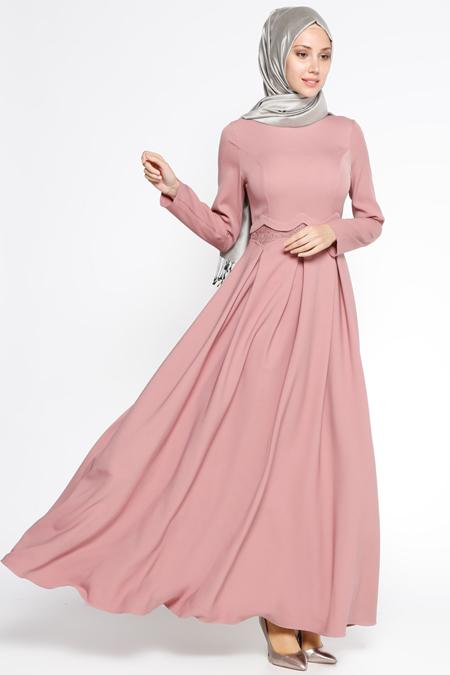 LOREEN Pudra Dantel Detaylı Elbise