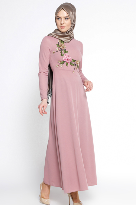 LOREEN Pudra Güpür Detaylı Elbise