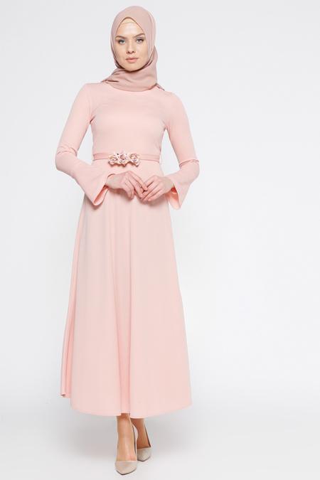 LOREEN Pudra Kemerli Elbise