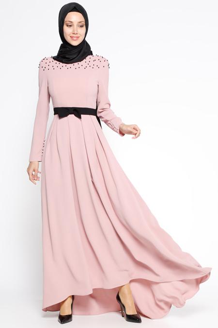 LOREEN Pudra Pile Detaylı Elbise
