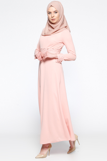 LOREEN Somon Güpür Detaylı Elbise