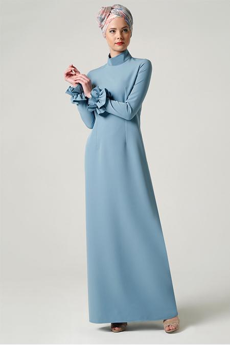 Milda Store Açık Mavi Fırfırlı Elbise