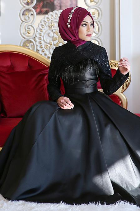 Minel Aşk Siyah Yakamoz Abiye Elbise