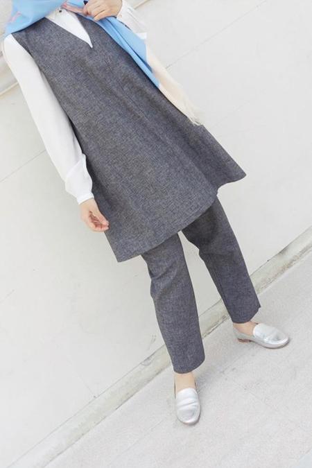 NASSAH Gri Sıfırkollu Tunik Pantolon Takım