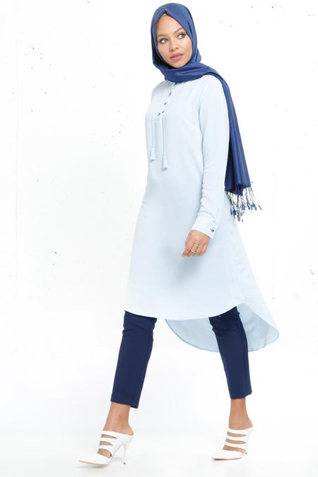 Refka Bebe Mavi Düğme Detaylı Tunik