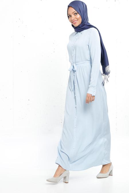 Refka Bebe Mavi Naturel Kumaşlı Puantiyeli Elbise