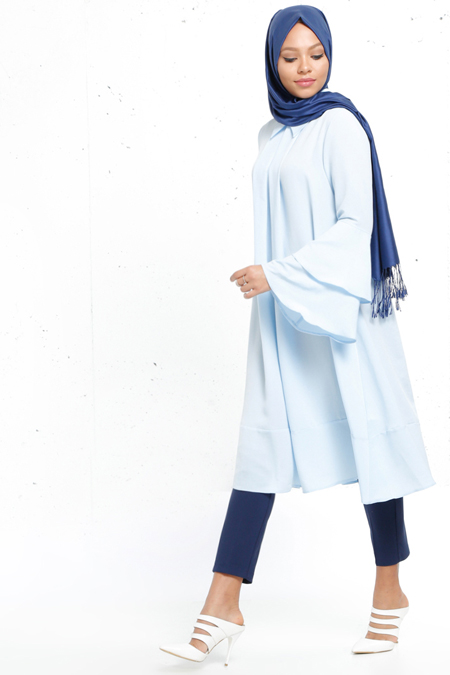 Refka Bebe Mavi Volan Detaylı Tunik