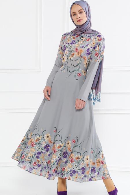 Refka Gri Floral Desenli Elbise