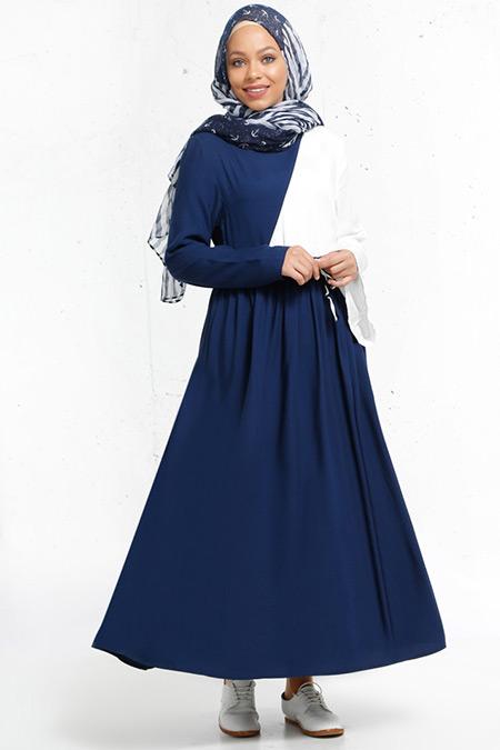 Refka Lacivert Natürel Kumaşlı Garnili Elbise