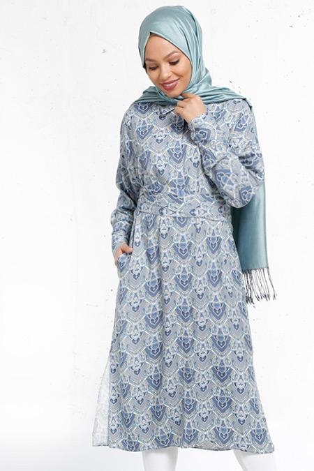 Refka Mavi Natürel Kumaşlı Desenli Tunik