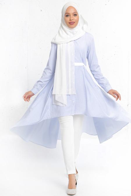 Refka Mavi Natürel Kumaşlı Arkası Uzun Tunik