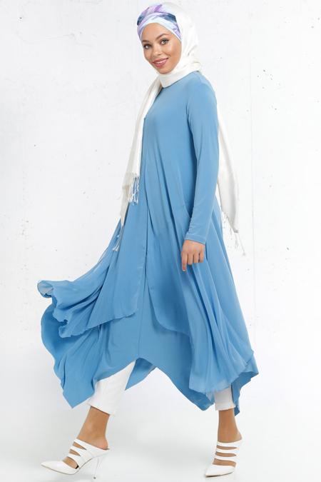 Refka Mavi Şifon Parçalı Tunik