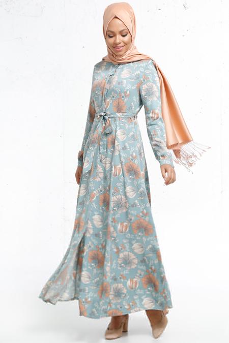 Refka Mint Naturel Kumaşlı Boydan Düğmeli Elbise
