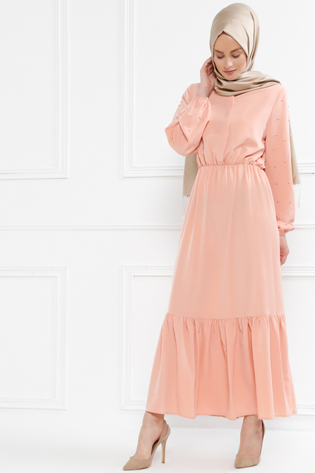 Refka Pudra İnci Detaylı Elbise