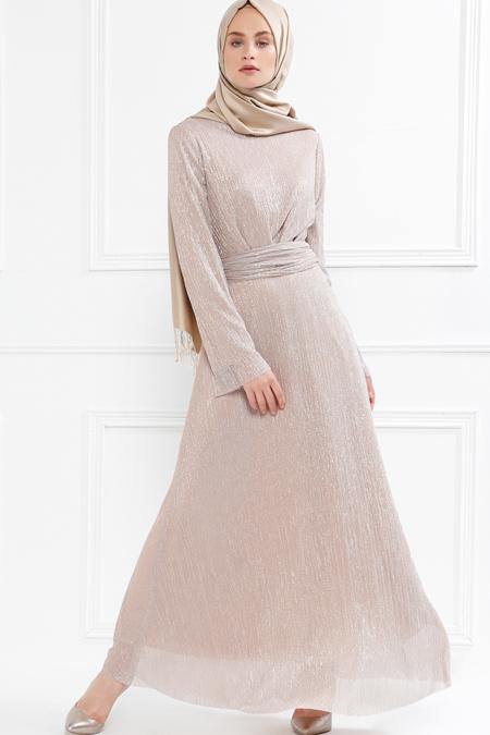 Refka Pudra Pile Detaylı Simli Elbise