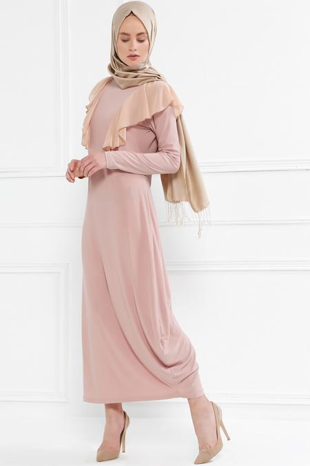 Refka Pudra Volan Detaylı Elbise