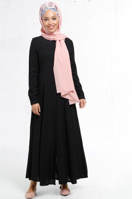 Refka Siyah Boydan Gizli Düğmeli Elbise