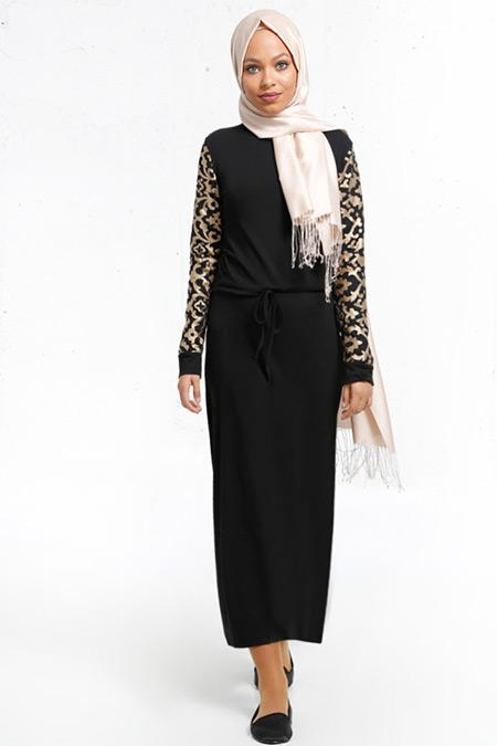 Refka Siyah Lazer Kesimli Elbise