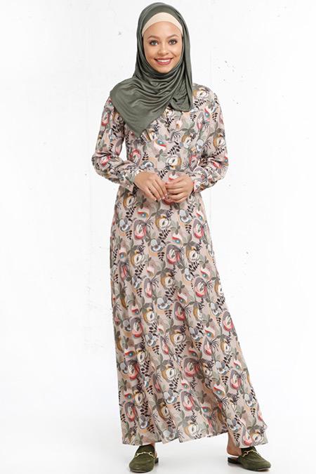 Refka Vizon Desenli Elbise