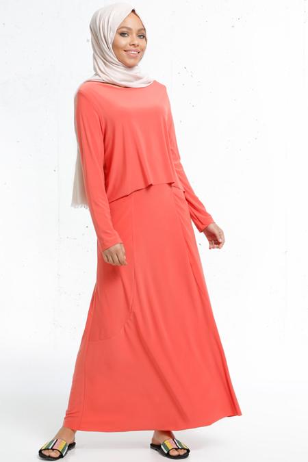 Refka Yavruağzı Cep Detaylı Elbise