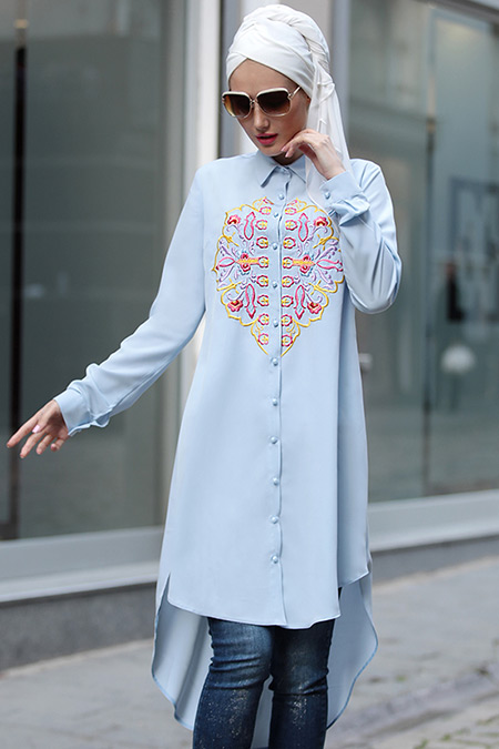 Selma Sarı Design Bebe Mavi Nakışlı Tunik