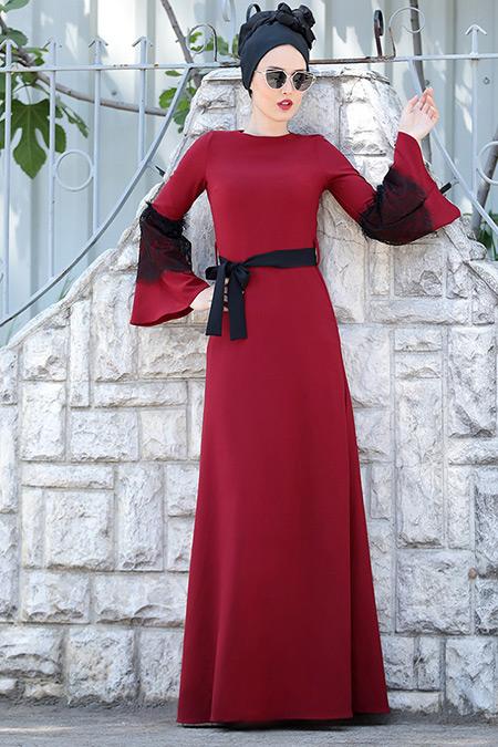 Selma Sarı Design Bordo Dantel Detaylı Elbise