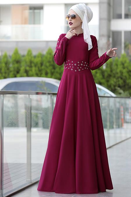 Selma Sarı Design Fuşya Kuş Gözü Detaylı Elbise