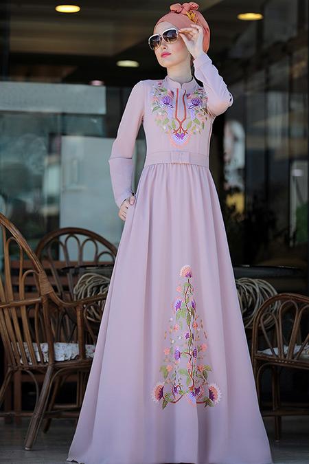 Selma Sarı Design Pudra Cess Nakışlı Elbise