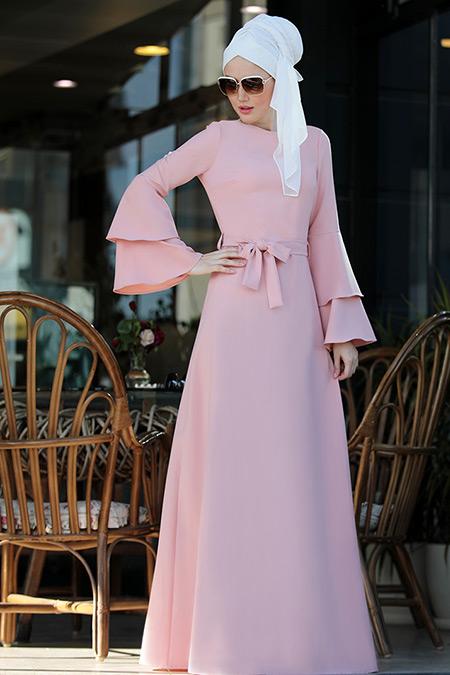 Selma Sarı Design Pudra Volanlı Işık Elbise