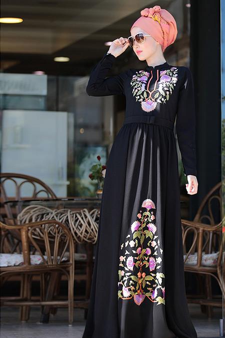 Selma Sarı Design Siyah Cess Nakışlı Elbise
