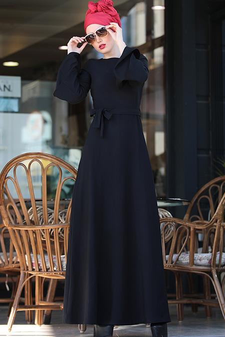 Selma Sarı Design Siyah Volanlı Işık Elbise