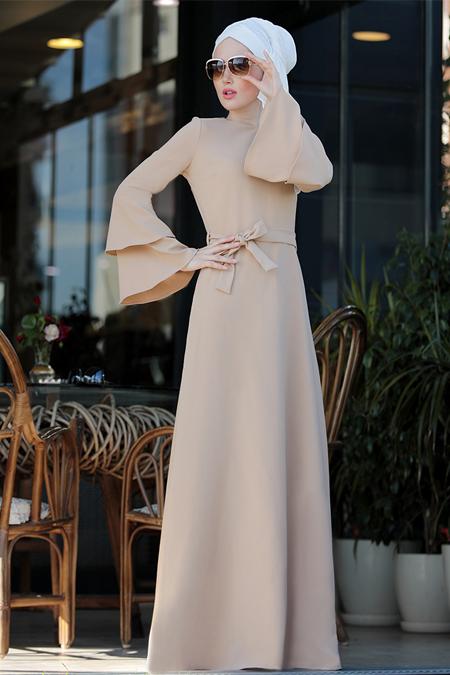 Selma Sarı Design Bej Volanlı Işık Elbise