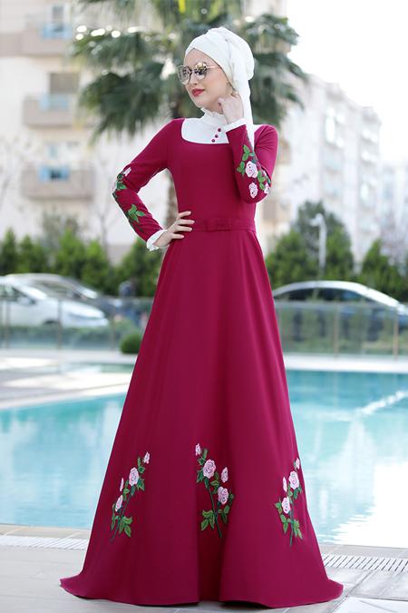 Selma Sarı Design Fuşya Gül Elbise