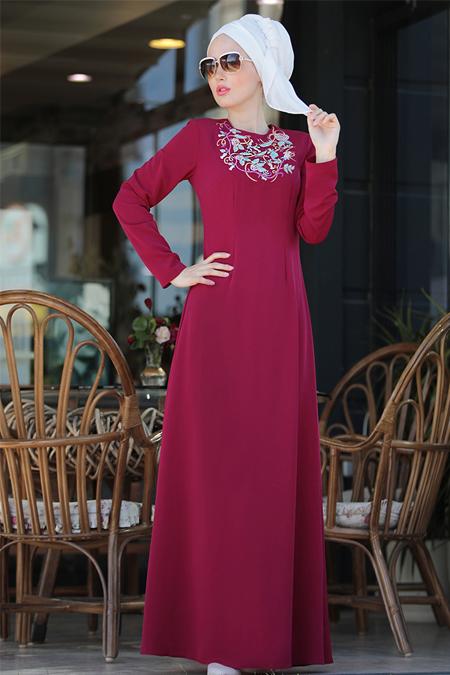 Selma Sarı Design Fuşya İrem Nakışlı Elbise