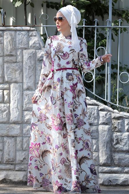 Selma Sarı Design Fuşya Zambak Desenli Elbise