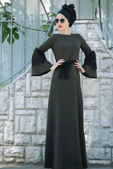 Selma Sarı Design Haki Dantel Detaylı Elbise