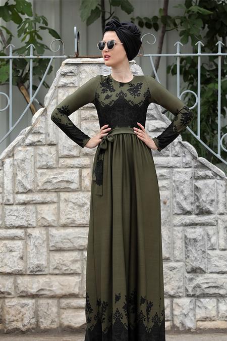 Selma Sarı Design Haki Dantel Detaylı Simay Elbise